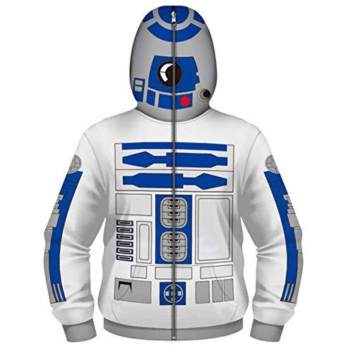 Zip Up Jungen Kapuzenpullover Hoodie Sweatshirt Mantel Reißverschluss Jacke Digitales Drucken Cosplay Roboter Maskierte Oberteile 4-13 Jahre