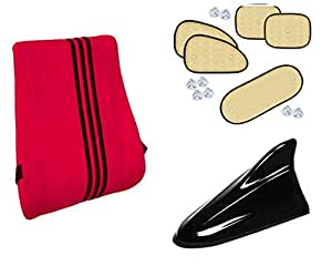 Auto Pearl Premium Quality Combo Of Premium Quality Orthopaedic Velvet Memory Foam Backrest For Car/Home/Office. Red 3 Black Strip. & Chipkoo Sun Shade Curtain Beige Set of 5 Pcs. & Shark Fin Signal Receiver Replacement Antenna Black.