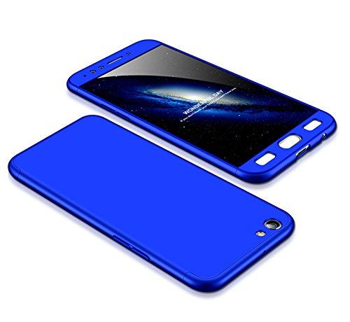 MEVIS Oppo F3 Plus Hülle,360 Grad hülle Fullbody case+(1*Hartglas Glasfilm Schutzfolie) 3 in 1 Ultra dünner pc Hardcase Scratch und Shockproof-Blau