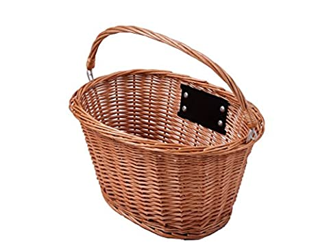 OVAL FRONT WICKER BIKE SHOPPING BASKET RETRO VINTAGE CARRY HANDLE