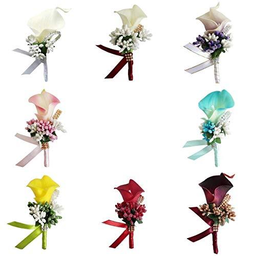 Tubayia 8 Stück Romantische Hochzeit Boutonniere Seide Blume Ansteckblume für Braut Bräutigam -