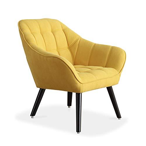 Adec - Olden, Sofa Individual de una Plaza, Sillon Descanso una 1 Persona, butaca acabada en Tejido Color Mostaza, Patas...