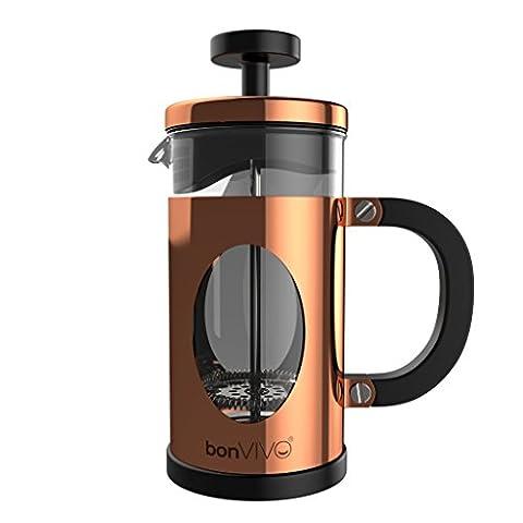bonVIVO® GAZETARO I, Design-Kaffeebereiter und French Press in Kupfer- oder Edelstahl Optik aus Edelstahl und Glas, mit Filter, Größe: 035l/ 350ml / 3 Tassen