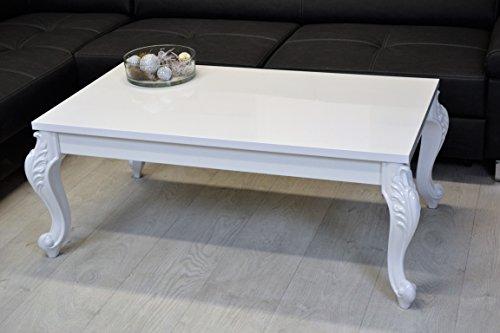 Barock Couchtisch Holz Hochglanz weiß Wohnzimmer Lack Tisch Beistelltisch 65x115cm höhe 50cm