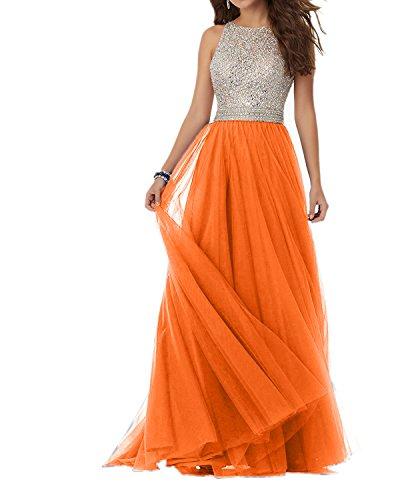 Charmant Damen Royal Blau Steine Langes Abendkleider Promkleider Abschlussballkleider Tuell Prinzess Rock Orange