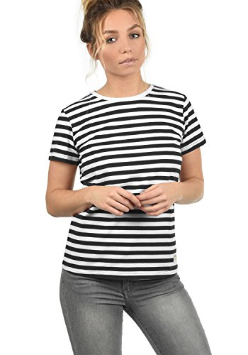 DESIRES Maya Damen T-Shirt Kurzarm Streifenshirt Shirt Mit Rundhalsausschnitt, Größe:XL, Farbe:Black (9000) -