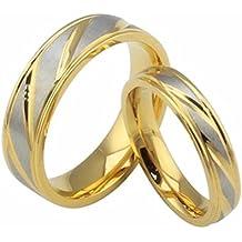 HIJONES Joyería Mujeres Hombres Acero Inoxidable 18K Oro Plateado Anillo Promesa Cruzada