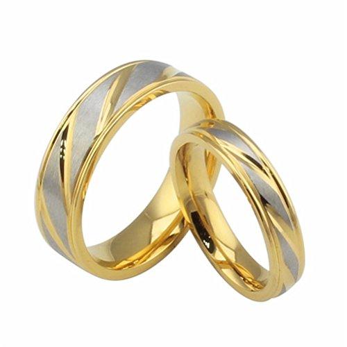 12 Herren Größe Ring Versprechen Ringe, (HIJONES Schmuck Damen Edelstahl 18k Gold Geflochtene Köperl Versprechen Hochzeit Ring Größe 52 (16.6))