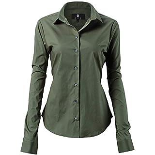 HARRMS Damen Bluse Basic Hemd Workwear Slim Fit Langarm Baumwolle Einfarbig Plain Für Anzug Business Arbeit mit Brusttasche Bügelleicht/Bügelfrei - Armee Grün - 44 (Hersteller  18)