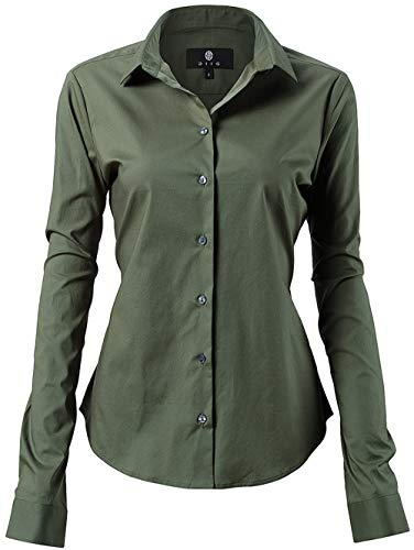 Harrms camicia classica elastica donna, perfetto per lavoro/riunione/cerimonia/matrimonio/festa/occasioni formali/casuali, verde militare, collo 38cm, petto 100cm