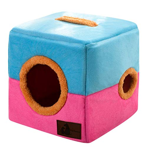 GYYL Kreative Faltbare Doppel Loch Pet Nest Kennel Katzenstreu Hundehütte Pet Supplies,Pink,S