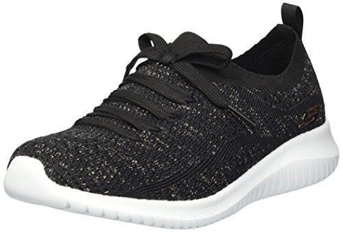 Skechers Ultra Flex-salutations, Scarpe da Ginnastica Donna, Nero (Black Gold Bkgd), 38 EU