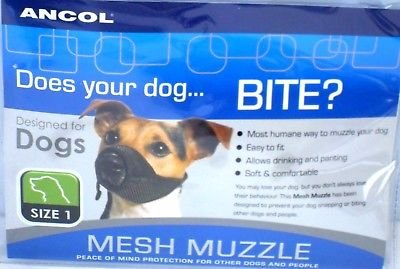Anc-ol Soft Mesh Dog Muzzle Comfortable Breathable Nylon Strong Reliable Mesh Muzzle (1) from Anc-ol