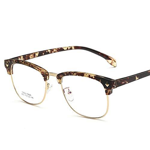 hanxniwm Koreanische Version der Retro-Halbrahmen Brillengestell Männer ultraleichte Myopie Brillengestell weiblichen Augenschutz Gesicht kleine Brille Dekoration
