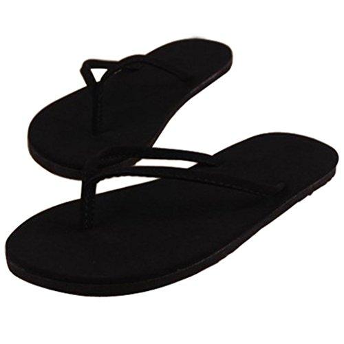Goodsatar Mujer Verano Flip Flops Zapatos Sandalias Zapatilla Bajo techo, en exteriores Chancletas (37, negro)