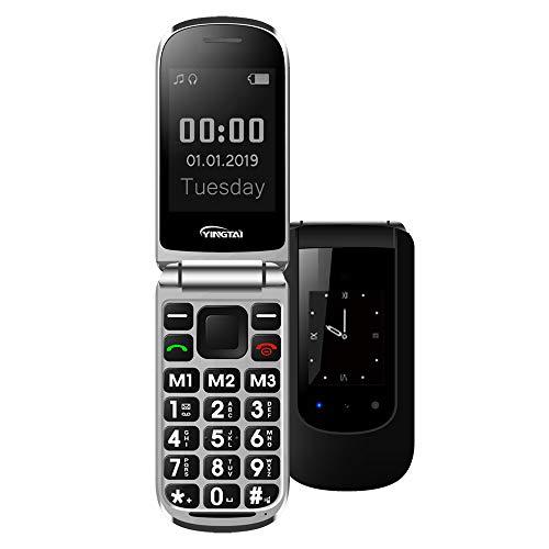 Seniorenhandy Klapp-Handy mit Großen Tasten Klapphandy und Notruffunktion mit SOS-Taste by YINGTAI T09 2G (Schwarz)