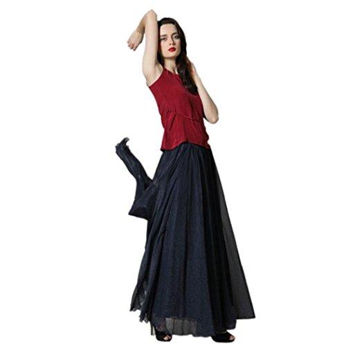 OverDose Frauen Elastisches Taillen Chiffon Langes Maxi-Strand-Kleid Petticoat Vintage Retro Reifrock A-Linie Chiffon Unterrock (A-Schwarz,Freie)