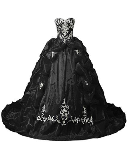 Sunvary Gorgeous A-Line strass Sweetheart Quinceanera satinato, Gowns-Cartamodello per abiti da ballo. Black