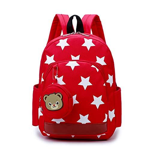 Kinderrucksack Klein Kleinkind Kindergartenrucksack Babyrucksack mit Sterne Muster für Mädchen Jungen Rot -