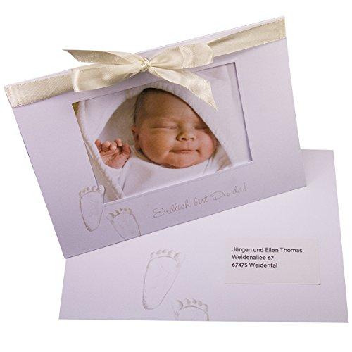 """Babykarte""""Fiete"""" - Dankeskarten zur Geburt oder Taufe für Mädchen und Jungen - 20 große Karten mit Satinband - zum einfachen Selbstbedrucken"""