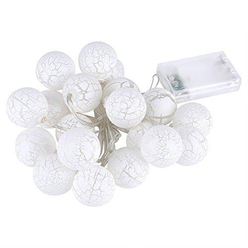 Kugel-Schnur-Lichter, batteriebetriebenes warmes Weiß 20 LED 10M Rattan-Ball-Schnurlichter für...