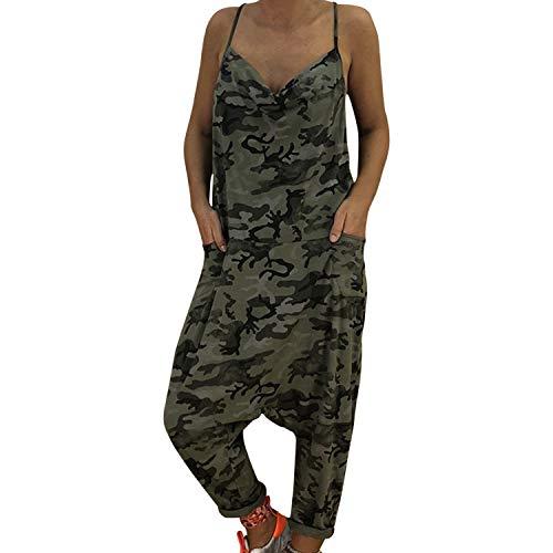 Petalum Damen Sommer Hosenträger Camouflage Spielanzug Harem Hosen Latzhose Jumpsuit, Größe 36-44 - Bib Detail Bluse