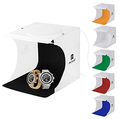 Fotografie Studio Kit Portable - Leuchtkasten für Fotografie - Faltbare Mini Foto Studio Zelt Schmuck Licht Box Kit Kleine Startseite Fotografie Studio mit 2x20 LED-Leuchten 6 Farben Backdrops