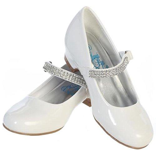 Lito Traumhafte Mädchen Lack-Ballerinas weiß mit Riemen und Glitzersteinen Gr. 28,29,30,31,32,33,34,35,36 (34)