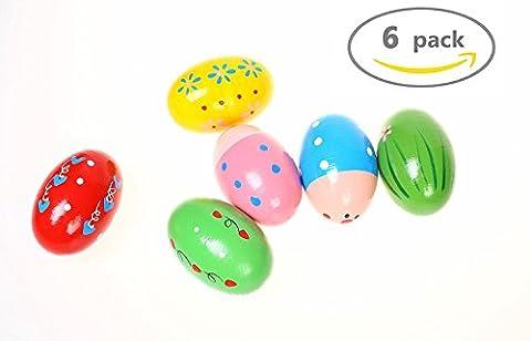HAKACC Wooden Percussion Musical Egg Maracas Egg Shakers,6 PCS,Random Pattern