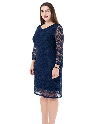 Chicwe Damen SpitzenKleid Große Größen 3/4 Ärmeln EU42-60 Blau