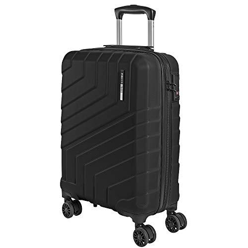Hartschale Handgepäck Koffer - Ryanair Easyjet 55x40x20 cm 44 Liter - Ultra Leicht und Robust ABS Cabin Trolley mit Alu Teleskopgriff - TSA Schloss und 4 Doppelrollen - Perletti Travel (Schwarz, S) -