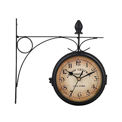 HLJ CW Zweiseitige Wanduhr Grand Central Bahnhofsuhr Retro Look Antik Stil Uhr Bahnhofuhr(Doppelseitige Uhr)