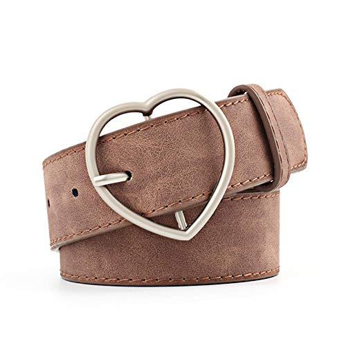 Seayahy Ampia Cintura Nera a Forma di Cuore con Fibbia in Metallo Carina Cintura da Donna per Donna Studentessa Jeans Pantaloncini Abito da Donna Regalo di San Valentino