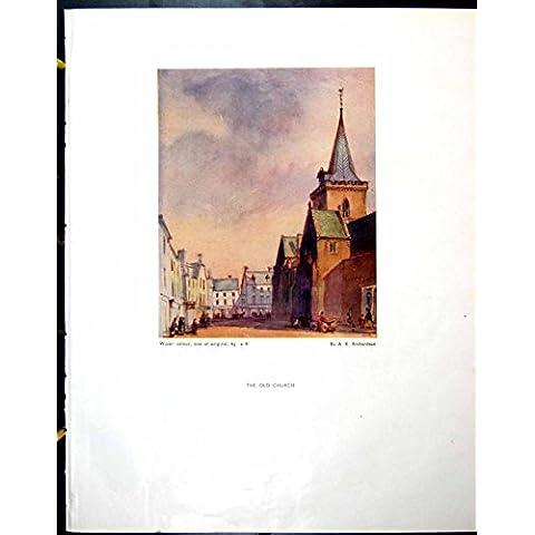 Impresión Victoriana Antigua Original Vieja El Viejo Mercado De los AE Richardson de la Iglesia Alnwick 1944 255RG612