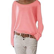 Minetom Mujer Moda Casual Blusa Manga Larga Camisa Camiseta con Cuello Redondo Tops Color Sólido