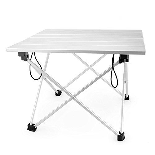 Skyiol, tavolino pieghevole e portatile da campeggio, con piano in alluminio rigido, adatto per picnic in campeggio o sulla spiaggia, utile per cenare, tagliare e cucinare i cibi ai fornelli, facile da pulire, con custodia in dotazione, L