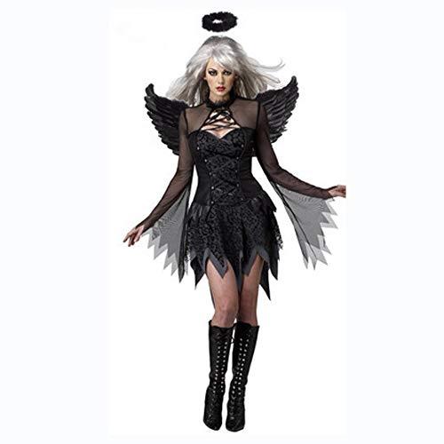 Demon Kostüm Angel - Shisky Halloween kostüm Damen, Halloween Rolle Kostüm Angel Kostüm Demon Outfit Hexenkostüm mit Engelsflügeln