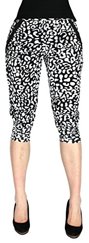 Damen und Mädchen Capri Leggings Harem Hose in bunt Leo getigert Kurze 3/4 Leggings - YLG033-035 (M, YLG-034)
