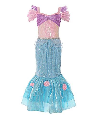 ReliBeauty Mädchen Kleid Prinzessin Meerjungfrau Arielle Kostüm Pailletten Puffärmel Quadratischer Kragen Blumen Schwanz Falten Rock, Pink&Blau, 150
