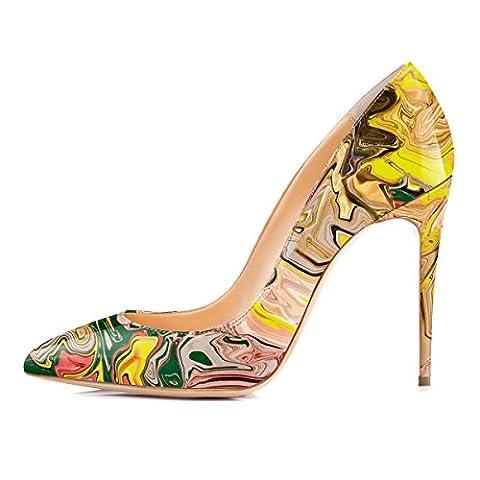 Onlymaker Damen Pumps Stiletto High Heels Sptize Zehenkappe Lady Schuhe Mehrfarbig Heel 10.5cm EU39