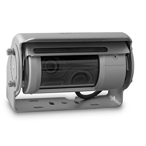 Carmedien 150° Premium Doppel Shutter Rückfahrkamera CM-DSKRFK mit Shutter Scheibenwischer Heizung Mikrofon 12V 24V silber Edelstahl 1326 Super-had-ccd-sensor