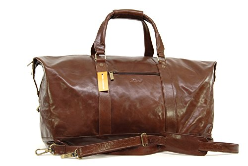 Reisetasche/Freizeittasche/Sporttaschevon Leder von Ashwood - Kastanie Braun - GRÖßE: B: 53 H: 35 T: 28 cm