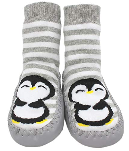Generic Baby Kleinkinder Kinder Hausschuhe Socken Mokassins rutschfest grau gestreift Pinguin Gr. 9-18 Monate, grau -