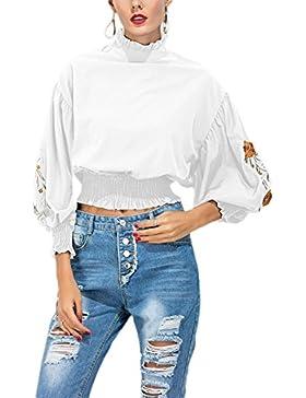 Le Donne Una Solida Alla Manica Floreali In Camicetta T - Shirt Maglietta Attillata. White XL