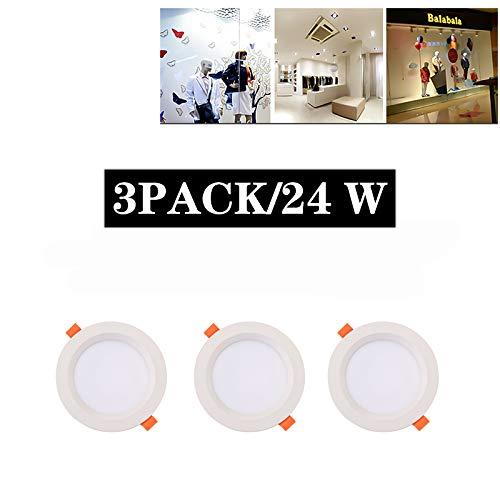 Ic-einbauleuchte ((3er Pack) Downlight Balkon LED Einbauleuchten 24 W 8 Zoll IC bewertet Panel DREI Farben optional Weiß Runde Einbauleuchten Beleuchtung,Warm,24w)
