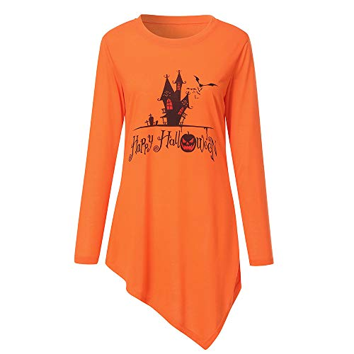 MIRRAY Damen Halloween Langarmshirt Kürbis Happy Halloween Gedruckt Mode Llässig Langarm T-Shirt Top Bluse