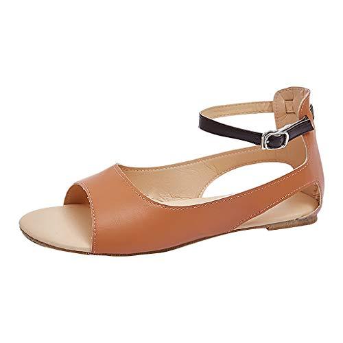 LILIHOT Flache Schuhe Frauen Feste Schnalle Peep Toe Partei Casual Sandalen Damen Sommer Sandaletten Flachen Bequeme Elegante Schuhe - Peep-toe-taste