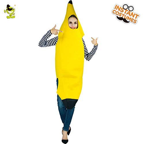AA Frauen Bananenanzug Karneval Party Rollenspiel Cartoon Outfit Frauen Halloween Cosplay Süße abgestandene Bananen Kostüme SD (Color : Onecolor, Size : Onesize)