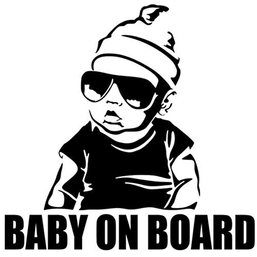 EROSPA® Auto-Aufkleber Baby On Board - Boy mit Sonnenbrille - Car-Sticker Baby (Silber)