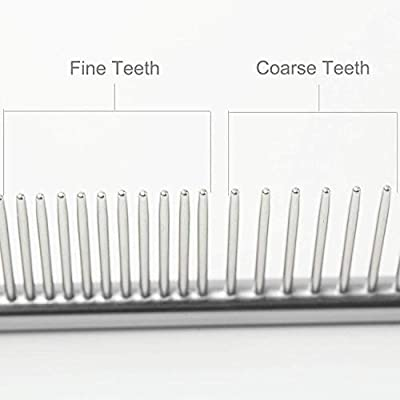 Dog Grooming Comb for Long Hair Dogs and Cats,Pet Stainless Steel Grooming Tools with Different Spaced Rounded Teeth for Poodle Greyhound Labradoodle Hairy Guys from SLSON